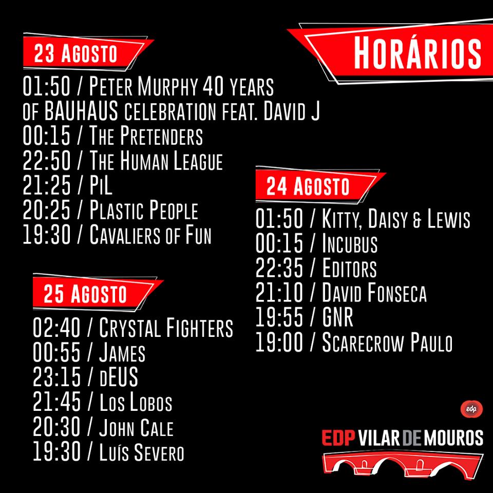 horarios festival edp vilar de mouros 2018